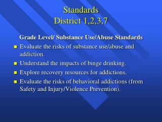 Standards District 1,2,3,7