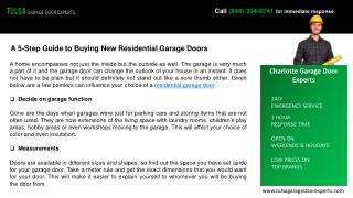 A 5-Step Guide to Buying New Residential Garage Doors-Tulsa