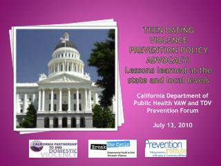 TEEN DATING VIOLENCE PREVENTION POLICY ADVOCACY:  Lessons learned at the state and local levels