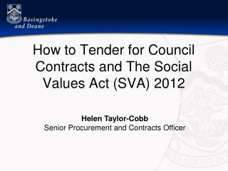 How to Tender for Council Contracts and The Social Values Act (SVA) 2012