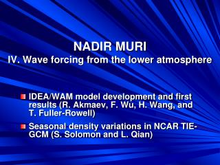 NADIR MURI IV. Wave forcing from the lower atmosphere