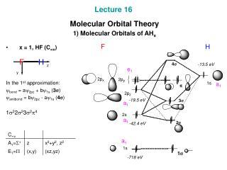 Lecture 16  Molecular Orbital Theory  1) Molecular Orbitals of AH x