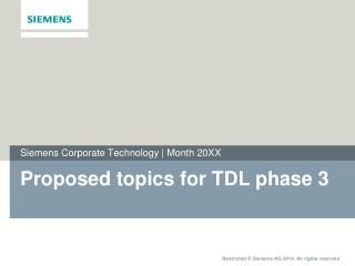 Proposed topics for TDL phase 3