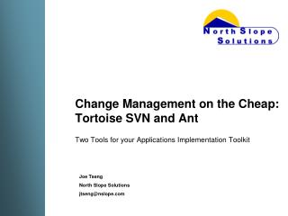 Change Management on the Cheap: Tortoise SVN and Ant
