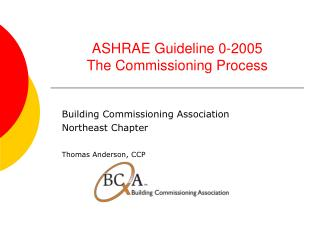ASHRAE Guideline 0-2005 The Commissioning Process