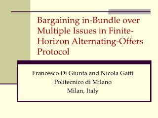 Bargaining in-Bundle over Multiple Issues in Finite-Horizon Alternating-Offers Protocol