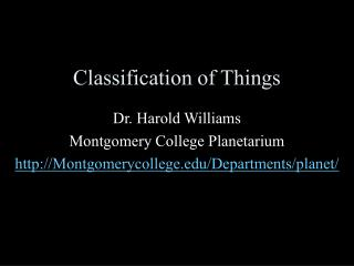 Classification of Things