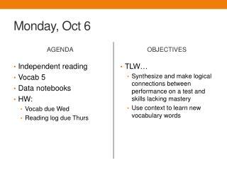 Monday, Oct 6