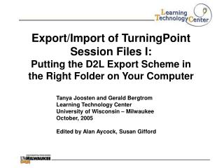 Export/Import of TurningPoint Session Files I: