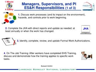 Managers, Supervisors, and PI   ES&H Responsibilities  (1 of 3)