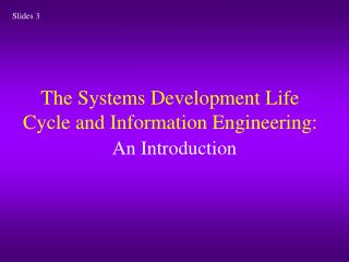The Systems Development Life Cycle and Information Engineering: