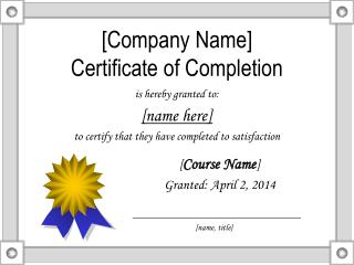 [Company Name] Certificate of Completion