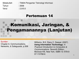 Pertemuan  14 Komunikasi, Jaringan, & Pengamanannya (Lanjutan)