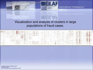 Visualization and analysis of clusters in large populations of fraud cases.