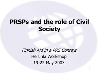 PRSPs and the role of Civil Society