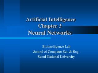 Artificial Intelligence Chapter 3 Neural Networks