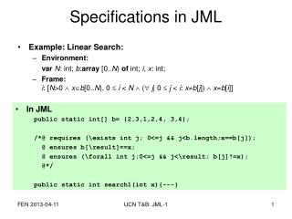 Specifications in JML
