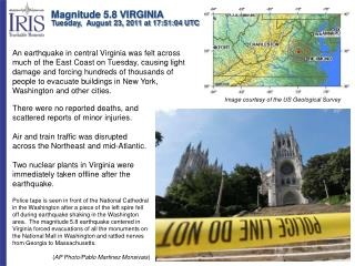 Magnitude 5.8 VIRGINIA Tuesday,  August 23, 2011 at 17:51:04 UTC