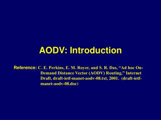 AODV: Introduction