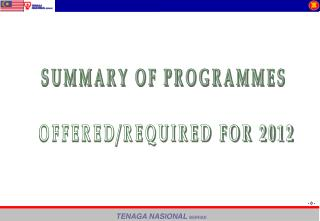 SUMMARY OF PROGRAMMES  OFFERED/REQUIRED FOR 2012