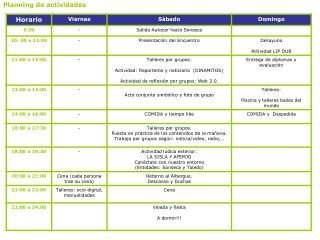 Planning de actividades