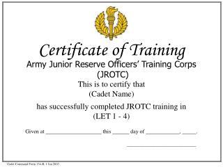 Cadet Command Form 134-R, 1 Jan 2003