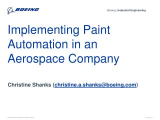 Implementing Paint Automation in an Aerospace Company