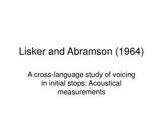 Lisker and Abramson (1964)