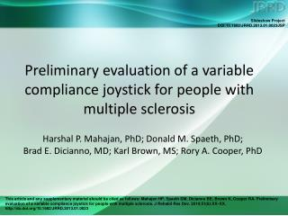 Preliminary evaluation of a variable compliance joystick for people with multiple sclerosis