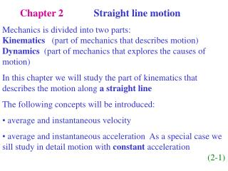 Chapter 2             Straight line motion