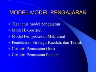 MODEL-MODEL PENGAJARAN