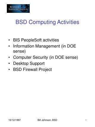 BSD Computing Activities