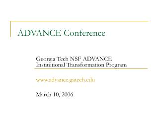 ADVANCE Conference