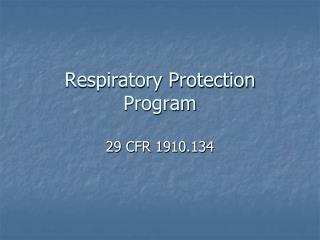 Respiratory Protection Program