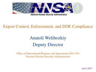 Export Control, Enforcement, and DOE Compliance