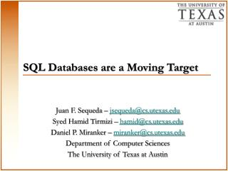 SQL Databases are a Moving Target