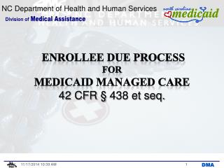ENROLLEE DUE  PROCESS for Medicaid Managed CARE 42 CFR § 438 et seq.