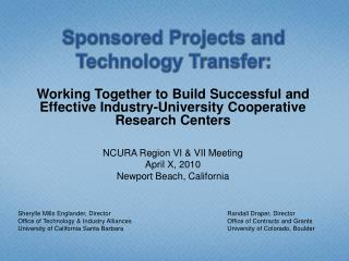 Sponsored Projects and Technology Transfer: