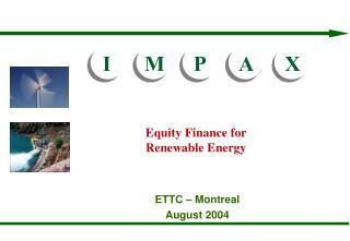 Equity Finance for Renewable Energy
