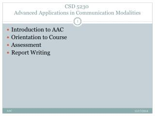 CSD5230 Advanced Applications in Communication Modalities