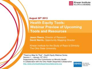 Health Equity Tools:  Webinar Preview of Upcoming Tools and Resources