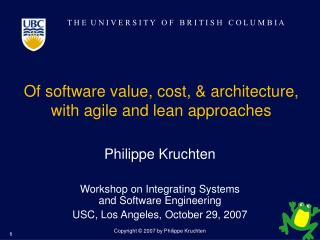Of software value, cost, & architecture,  with agile and lean approaches