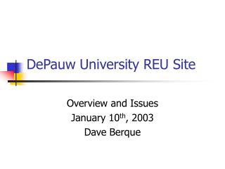 DePauw University REU Site