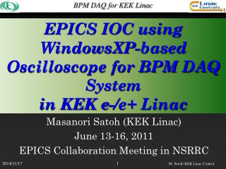 EPICS IOC using WindowsXP-based Oscilloscope for BPM DAQ System in KEK e-/e+ Linac