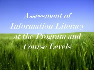 Assessment of Information Literacy at the Program and Course Levels