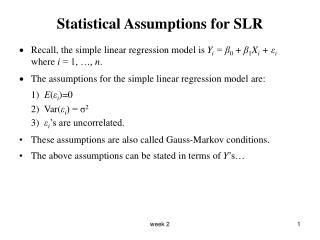 Statistical Assumptions for SLR