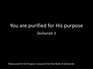 You are purified for His purpose Zechariah 3