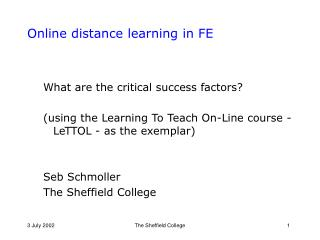 Online distance learning in FE
