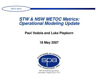 STW & NSW METOC Metrics: Operational Modeling Update
