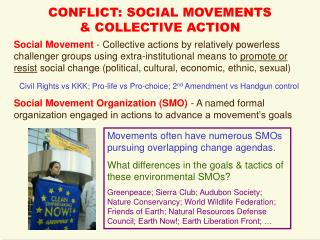 CONFLICT: SOCIAL MOVEMENTS  & COLLECTIVE ACTION